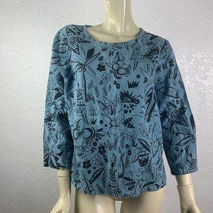 Hot Cotton Size M Blue w/Black Floral Print Top
